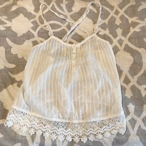 Sheer cross-back white Lacy tank, size small